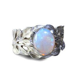 ハワイアンジュエリー リング ホワイトオパール ブルームーンストーン 指輪 レディース 女性 メンズ 男性 (Weliana)神秘的な宝石の煌めきをマイレがそっと包みこむ 神聖な マイレ リーフ シルバーリング wn-ri012svm プレゼント ギフト