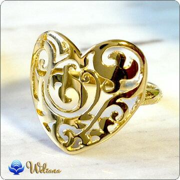 リング 指輪 ハワイアンジュエリーレディース 女性 リング (Weliana) 透かしハートのK18(18金)オープンワーク・ハートシルキーリング wri1121 バレンタイン プレゼント ギフト