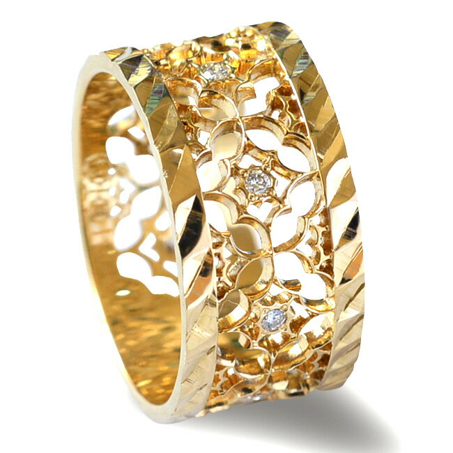 リング 指輪 ハワイアンジュエリーレディース 女性 (weliana) K18 18k 18金 ゴールド 2つのエッジタイプから選べる ファンシー レース リング イエローゴールド ピンクゴールド ホワイトゴールド wri1329/新作 クリスマス プレゼント
