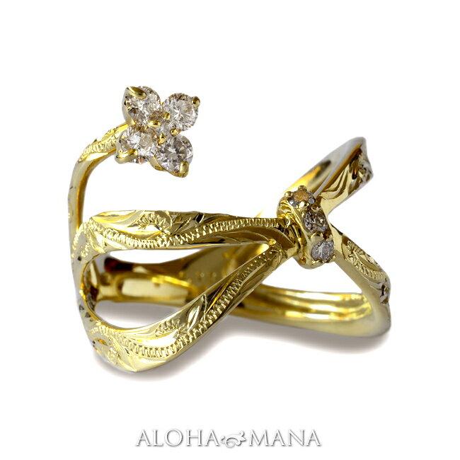 ダイヤモンド リング 指輪 ハワイアンジュエリーレディース 女性 (weliana) (K18 ゴールド 18金) Lipine リボン フラワー ダイヤモンド リング イエローゴールド wri1383/新作 プレゼント ギフト