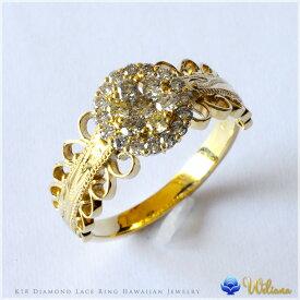 ダイヤモンド リング 指輪 ハワイアンジュエリーレディース 女性 (weliana) K18 18k 18金 ゴールド PUA NANA LA 向日葵 ダイヤモンド リング イエローゴールド wri1402/新作