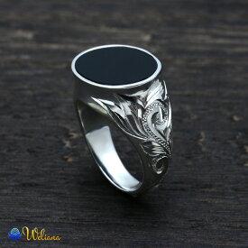 ハワイアンジュエリー リング シルバー925 SILVER925 silver925 指輪 メンズ レディース (Weliana)スクロール オニキス リング wri1469