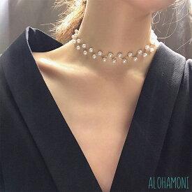 パール チョーカー ネックレス ジグザグ ワイヤー 2連デザイン 真珠 長さ調節可能 チェーン アジャスター 長さ30cm + アジャスター10cm (ゴールド / シルバー)