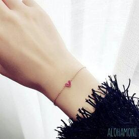 ハート ミニルビー ブレスレット ピンク ゴールド チェーン ペンダント キラキラ 小ぶり 華奢 かわいい 韓国 オルチャン 海外ファッション 長さ15~20cm