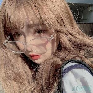 だてめがね クリア 透明 フレーム スクエア 四角 めがね ブルーライト カット おしゃれ女子 大きめサイズ 小顔効果 すっぴん隠し 韓国 オルチャン ファッション 眼鏡 大きい メガネ ビッグフ
