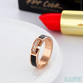キュービック ジルコニア バックル ベルト モチーフ リング 指輪 ピンクゴールド ブラック ライン バイカラー ステンレス 錆び対応 鏡面仕上げ 高級感 シンプル スタイリッシュ 大人 エレガント ヴィンテージ レトロ アンティーク レディース
