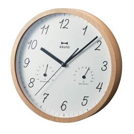 壁時計 BURUNO ブルーノ イデア ウッド温湿ウォールクロック ナチュラル BCW022