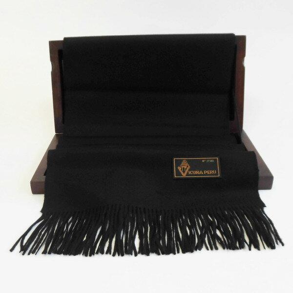 (送料無料)世界最高位の毛織物「ビクーニャ」の高級マフラー ブラック(黒)/国際希少野生動植物種登録票付き/在庫一掃セール