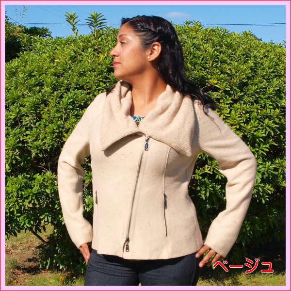 (送料無料)ペルーより直輸入 アルパカの高級婦人ジャケット/素敵なデザインが魅力/極上の肌触りと暖かさ/レディース/選べる2色/暖かい