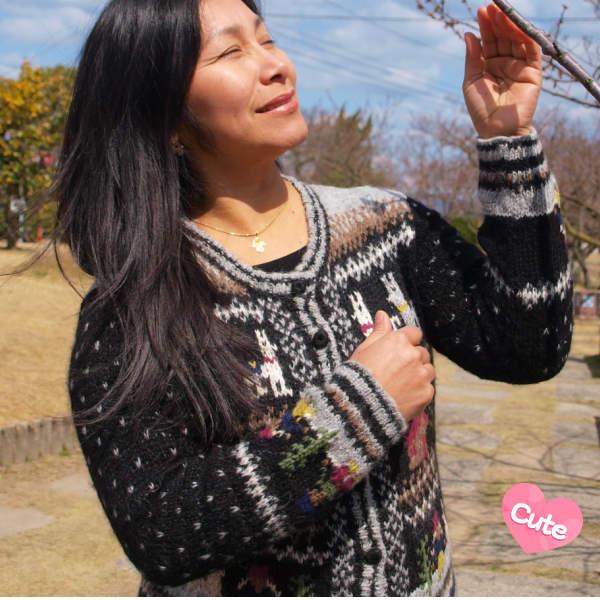 (送料無料)手紡ぎアルパカの高級手カーディガン/アンデスのメルヘンチックなデザインが魅力/レディース/選べる5色/暖かい