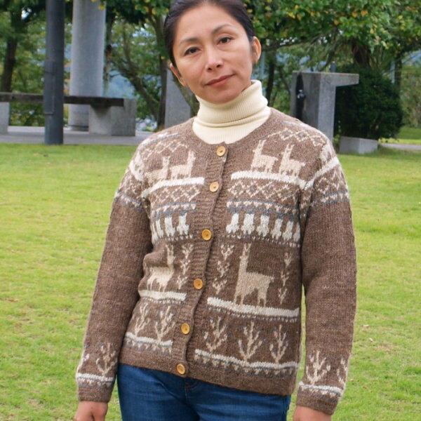 (送料無料)手紡ぎアルパカ100%の高級手編みカーディガン/アンデスの素敵なデザインが魅力/レディース/選べる5色/暖かい