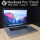 中古ノートパソコン 中古パソコン Apple アップル MacBook Pro 17インチ Corei7 2.8GHz 8GB HDD500GB Mac OS X 10.11 El Capitan (Mid …