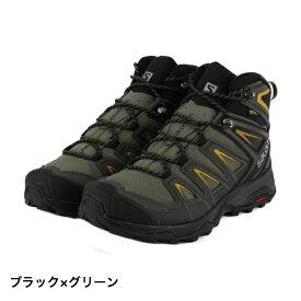 サロモン メンズ トレッキング シューズ X ULTRA 3 WIDE MID GTX (L40129500) ブラックグリーン SALOMON