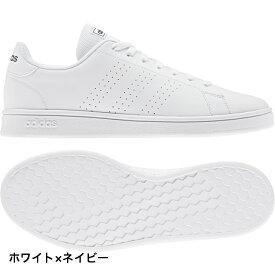 アディダス ADVANCOURT BASE EE7691 メンズ レディース スニーカー:ホワイト×ネイビー adidas 白スニーカー 白靴 通学スニーカー 白スクールシューズ 通学靴 191011shoes