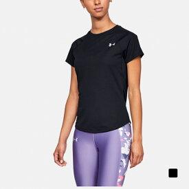【6/20】 買えば買うほど★ 最大10%OFFクーポン アンダーアーマー レディース 陸上 ランニング 半袖Tシャツ UA Speed Stride Short Sleeve (1326462 001) : ブラック UNDER ARMOUR 0604point 0529T