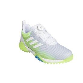 アディダス ゴルフシューズ コードカオス ボア ロウ (KXJ34) メンズ ゴルフ ダイヤル式スパイクレスシューズ 2E ホワイト×グリーン adidas