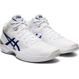 アシックス ゲルフープ V12 GELHOOP 1063A022 100 メンズ レディース バスケットボール シューズ E : ホワイト×ブルー バッシュ 白 asics