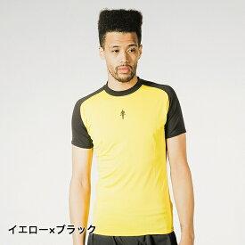 ゴールドジム メンズ フィットネス 半袖Tシャツ (G2247) : イエロー×ブラック GOLDS GYM