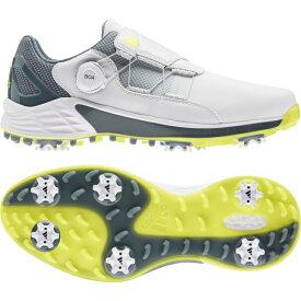 アディダス ゴルフシューズ ZG ゼットジー21 ボア (KZI02) メンズ ゴルフ ダイヤル式スパイクシューズ 3E ホワイト×イエロー adidas