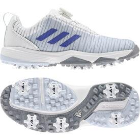 【10/15〜10/16はエントリーでP5倍!】 アディダス ゴルフシューズ ジュニア コードカオスボア (EF1220) ジュニア(キッズ・子供) ゴルフ ダイヤル式スパイクシューズ 2E : ホワイト×ブルー adidas