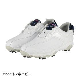 マンシングウェア ゴルフシューズ (MQ3NJA00) レディース ゴルフ ダイヤル式スパイクシューズ 3E : ホワイト×ネイビー Munsingwear