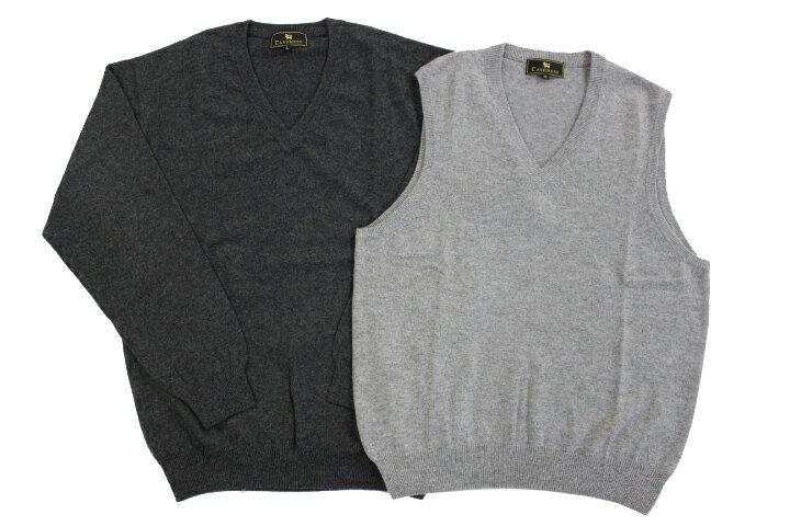 《送料無料》1897年創業【ALPHA】★2枚セット★カシミヤ100%メンズ・Vネックセーター&Vネックベスト