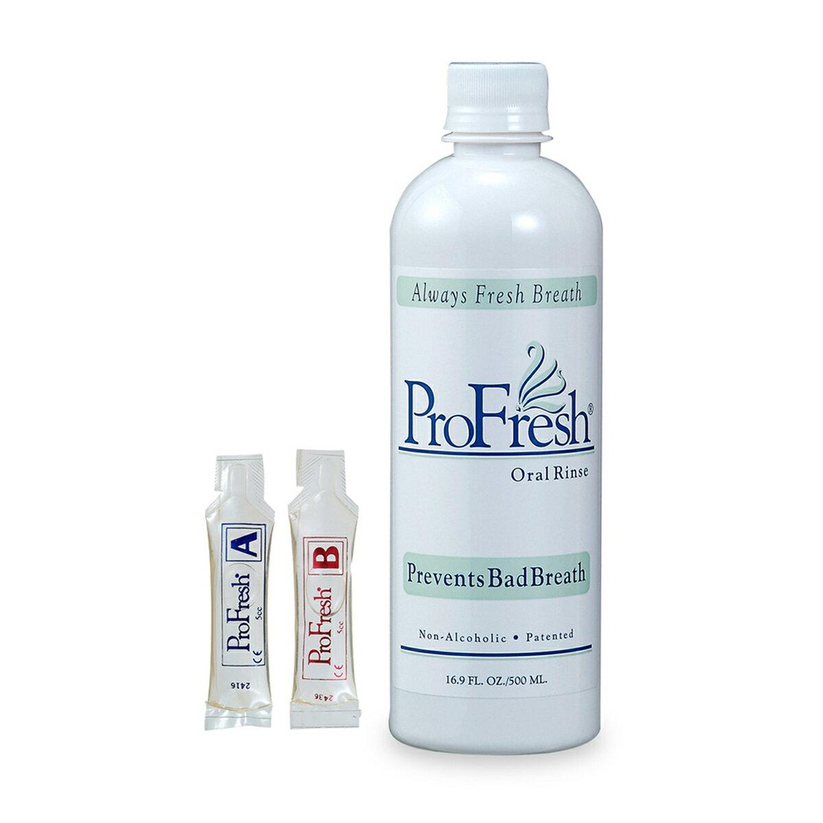 口臭 プロフレッシュ オーラルリンス 口臭予防 酸素の力で長時間予防出来る本格的な口腔化粧品ProFresh 30秒間すすいだあと、ブラッシング