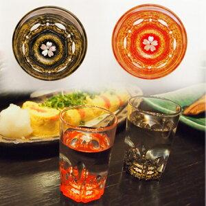 -AMANO-螺鈿ガラスセット「ショットグラス 金桜(黒・朱)」 酒器