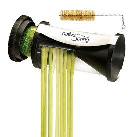 スパイラルベジタブルスライサー 野菜パスタメーカー クリーニングブラシ付 Native Spring Spiral Vegetable Slicer, Hand Held with Cleaning Brush, Zucchini and Carrot Veggie Pasta Maker