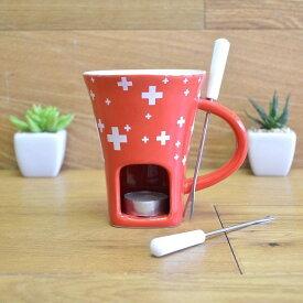 チョコレートフォンデュ スイスマグセット 赤 レッド Swissmar F12065 4-Piece Swissy Chocolate Fondue Mug Set