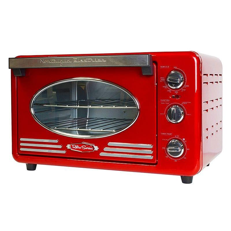 ノスタルジア コンベクショントースターオーブン レトロ Nostalgia RTOV220RETRORED Retro Series 6-Slice Convection Toaster Oven
