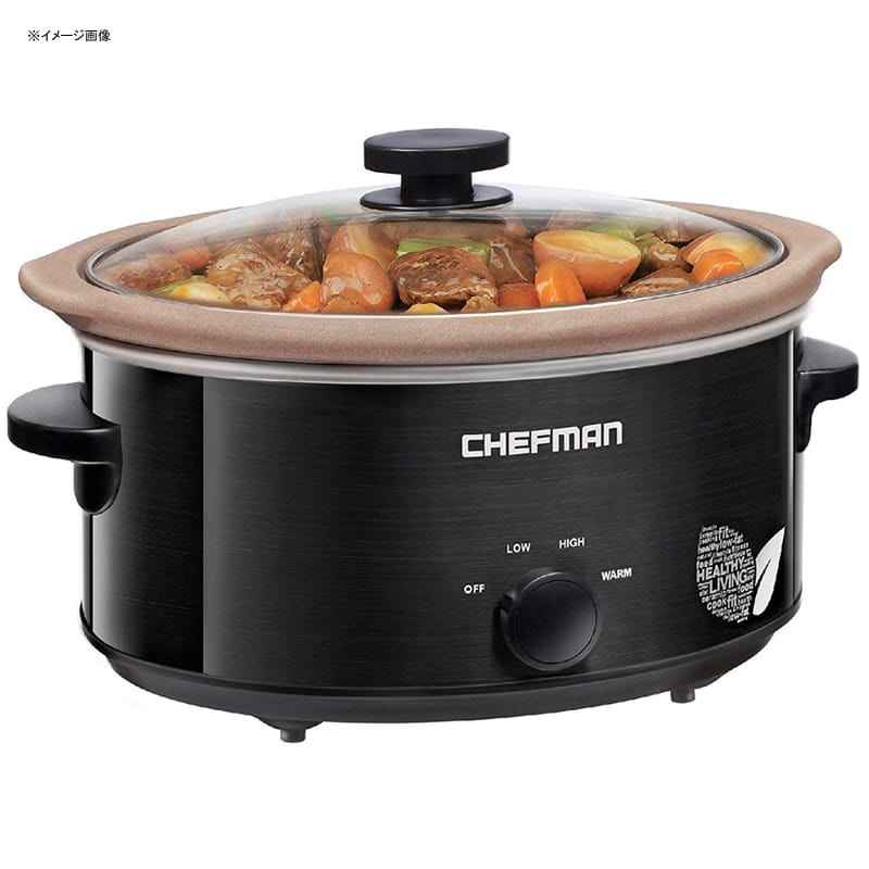 スロークッカー PTOAフリー PTFEフリー 天然素材内鍋 直火可 4.7L Chefman Slow Cooker Stovetop and Oven Safe Crock 5 Qt Slow Cooker 家電