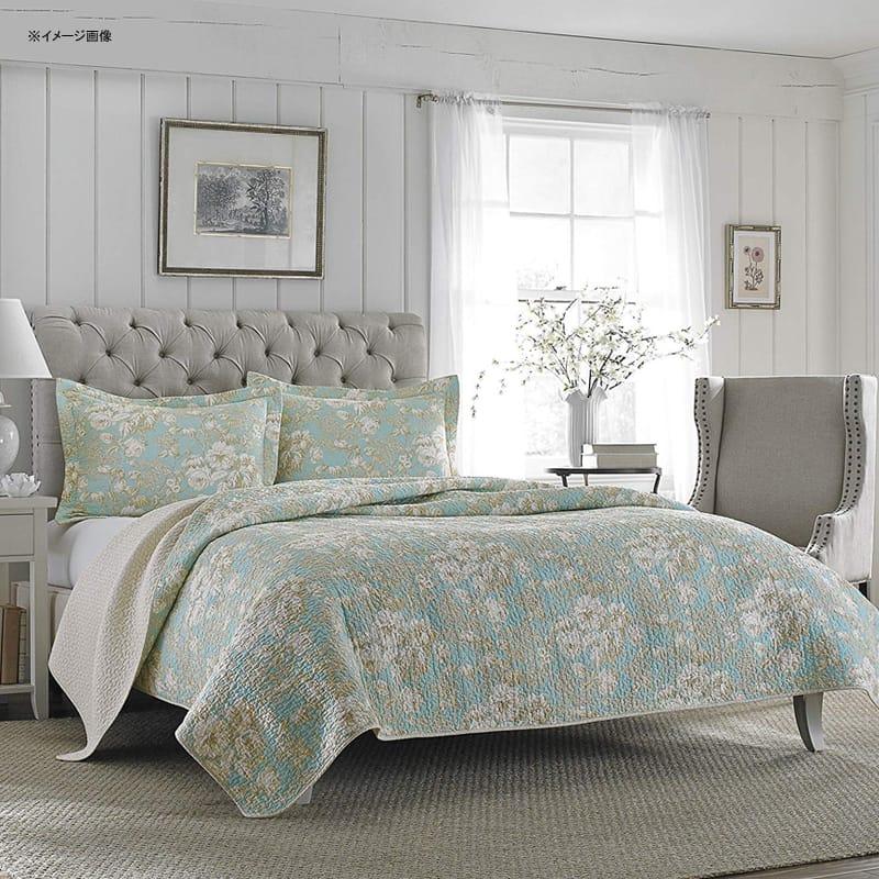 ローラ アシュレイ リバーシブル キルト 枕カバーセット Laura Ashley Brompton Serene Reversible Quilt Set, 206334