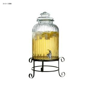 ドリンクサーバー 模様入 ガラスドリンクディスペンサー 11L ワイヤースタンド付 レストラン カフェ ホテル 3 Gallon Springfield Glass Beverage Dispenser with Metal Stand 494210919GB