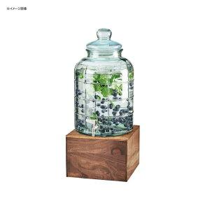 ドリンクサーバー 模様入 ガラスドリンクディスペンサー 7.5L アイスチャンバー 木製スタンド付 レストラン カフェ ホテル Cal-Mil 3568-2-78 Mid-Century 2 Gallon Glass Beverage Dispenser with Walnut Base and Ice C