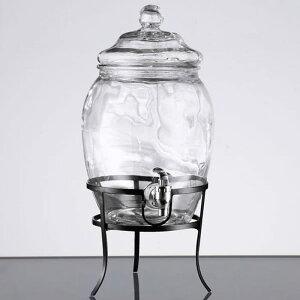 ドリンクサーバー ガラスドリンクディスペンサー 7.5L ワイヤースタンド付 レストラン カフェ ホテル 2 Gallon Style Setter Fortuna Glass Beverage Dispenser with Metal Stand 494210322GB