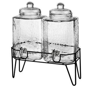 ドリンクサーバー ドリンクディスペンサー 模様入 ガラス 5.6L 2個セット ワイヤースタンド付 レストラン カフェ ホテル Style Setter Hamburg 210266-GB 1.5 Gallon Each Glass Beverage Drink Dispensers with Metal Stan
