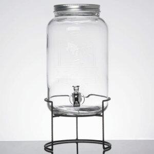 ドリンクサーバー ジャー型 ロゴ入 ガラスドリンクディスペンサー 7.5L ワイヤースタンド付 レストラン カフェ ホテル 2 Gallon Style Setter Main Street Embossed Glass Beverage Dispenser with Metal Stand 494210260GB