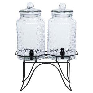 ドリンクサーバー ジャー型 ガラスドリンクディスペンサー 3L 2個セット ワイヤースタンド付 レストラン カフェ ホテル Double 0.8 Gallon Style Setter Blackboard Glass Beverage Dispenser with Metal Stand 494210838G
