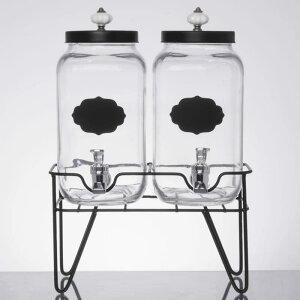 ドリンクサーバー ガラスドリンクディスペンサー 3L 2個セット ワイヤースタンド付 レストラン カフェ ホテル Double 0.8 Gallon Style Setter Manchester Glass Beverage Dispenser with Metal Stand 4942102352GB