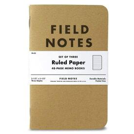 ポケットサイズ ノート ルールドペーパー 3冊セット アメリカ製 Field Notes Kraft Ruled 3-Pack