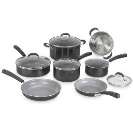 クイジナート フライパン 鍋 11点セット セラミック アルミコア 3層 PTFEフリー PFOAフリー PFOSフリー Cuisinart 54C-11BK Advantage Ceramica XT Cookware Set, Medium, Black
