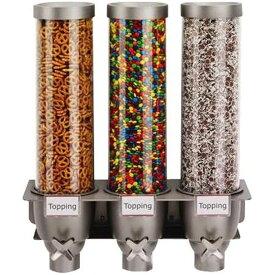 フード ディスペンサー サーバー 壁掛け 3連 各4.94L シリアル スナック キャンディー ゼリービーンズ コーヒー豆 ホテル レストラン Rosseto EZ525 3-Container Ice Cream Topping Candy Wall Mount Dispenser, 1.3-Gallon
