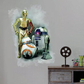 STAR WARS スターウォーズ 壁用ステッカー 貼ってはがせる シール ウォールデコ インテリア R2-D2 C-3PO BB-8 RoomMates Star Wars The Force Awakens Ep VII R2-D2, C-3PO, BB-8 Peel And Stick Giant Wall Graphic