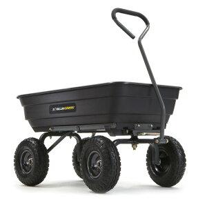 ガーデンダンプカート ポリ キャリーカート ワゴン ブラック ゴリラカート 対荷重270kgまで タイヤ直径25cm Gorilla Carts GOR4PS Poly Garden Dump Cart with Steel Frame and 10-in. Pneumatic Tires