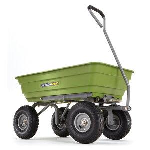 """ガーデンダンプカート ポリ キャリーカート ワゴン グリーン 対荷重270kgまで ゴリラカート Gorilla Carts Poly Garden Dump Cart with Steel Frame and 10"""" Pneumatic Tires, 600-lbs. Capacity, Green GOR4G"""