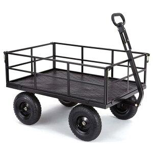 """ガーデンワゴン 540kgまで スチール メッシュ サイド取り外し可 ブラック 黒 高耐久 ゴリラカート Gorilla Carts GOR1200-COM Heavy-Duty Steel Utility Cart with Removable Sides and 13"""" Tires, 1200-lbs.【代引不可】"""