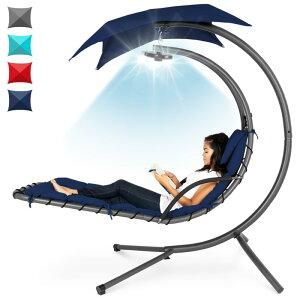 屋外用 ハンギングチェア スイング クッション キャノピー付 日よけ 3段階調節 LEDライト付き Best Choice Products Hanging LED-Lit Curved Chaise Lounge Chair Swing w/ 3 Light Settings, Removable Canopy Shade, Steel Stand【