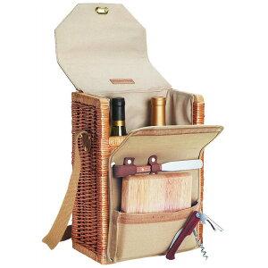 ワインボトルバスケット 2本用 チーズ まな板 ナイフ コルク抜付 ピクニックタイム Picnic Time Corsica Insulated Wine Basket with Wine and Cheese Accessories