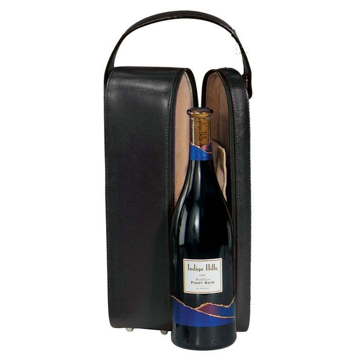革製ワインケース 1本 ブラックGenuine Leather Single Wine Presentation Case Black